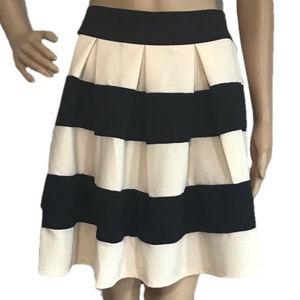 Ya Los Angeles Ivory & Black Stripe Pleated Skirt